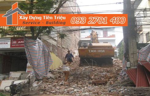 Phá dỡ công trình Huyện Hóc Môn bằng cơ giới.