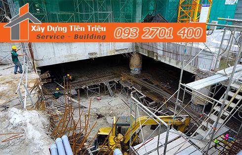 Thi công đào đất tầng hầm Quận Gò Vấp bằng cơ giới.