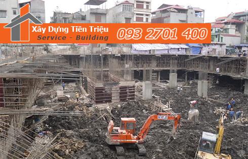 Thi công đào đất tầng hầm Quận Phú Nhuận bằng cơ giới.