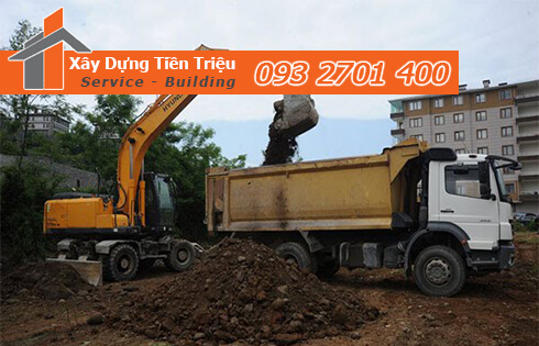 Thi công đào đất tầng hầm Quận Tân Bình bằng cơ giới.