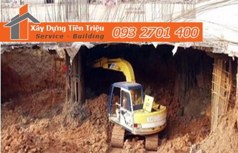 Thi công đào đất tầng hầm Huyện Củ Chi bằng cơ giới.