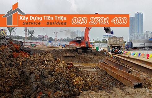 Thi công đào đất tầng hầm Biên Hòa Đồng Nai bằng cơ giới.