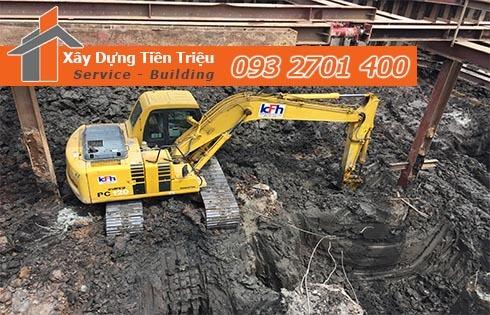 Công ty Tiền Triệu nhận thầu đào móng công trình ở Huyện Nhà Bè.