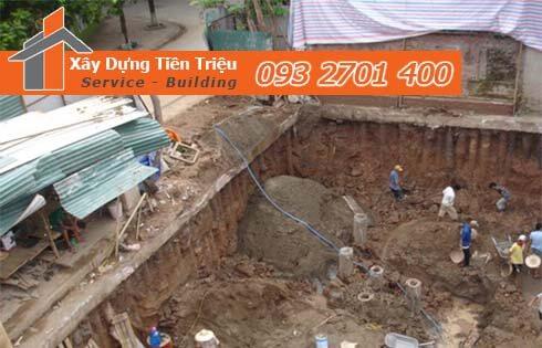 Công ty Tiền Triệu nhận thầu đào móng công trình ở Quận 4.