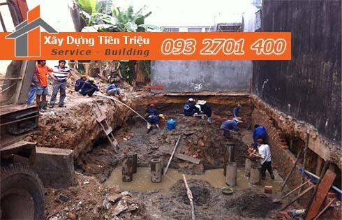 Quy trình đào móng nhà dân tại Huyện Bình Chánh.