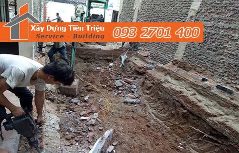 Quy trình đào móng nhà dân tại Quận Thủ Đức.