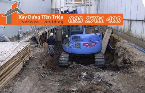 Thi công đào đất tầng hầm Quận Thủ Đức bằng cơ giới.