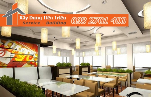 trần vách thạch cao quầy nhà hàng giá rẻ tạo hình cánh quạt, lắp hệ thống đèn chiếu sáng kỳ ảo