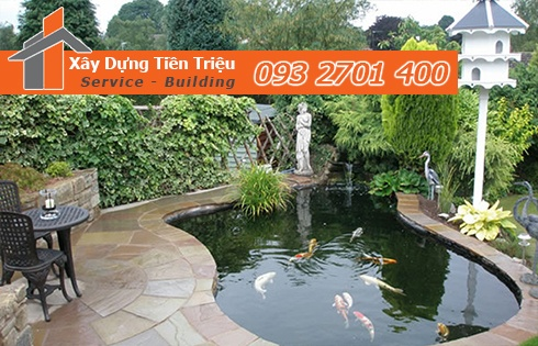 Thiết kế thi công hồ nước sân vườn tiểu cảnh đẹp Tiền Triệu.